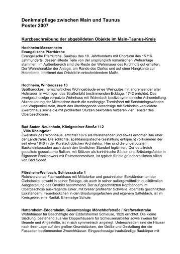 Denkmalpflege zwischen Main und Taunus Poster 2007