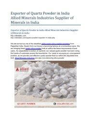 Exporter of Quartz Powder in India