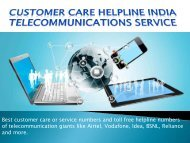 Customer Care Helpline India - Telecommunication