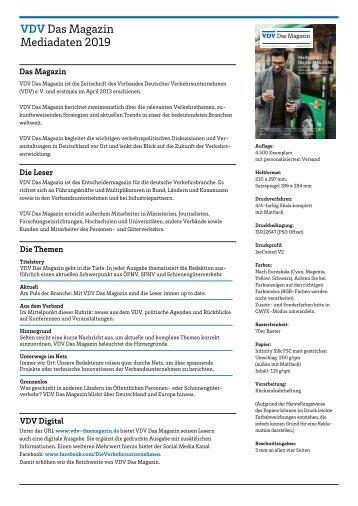 VDV Das Magazin 2019 – Factsheet