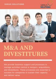 Proven Expertise in M&A and Divestitures | Sirius Solutions