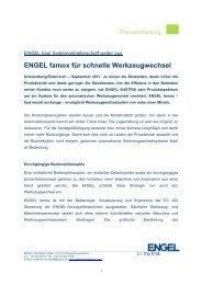 ENGEL famox für schnelle Werkzeugwechsel - Engel Austria