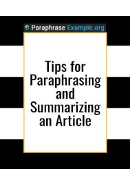 Tips for Paraphrasing and Summarizing an Article