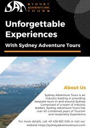 Get Unforgettable Experiences With Sydney Adventure Tours