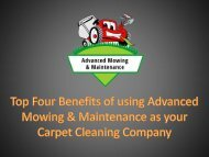 Top Four Benefits of using Advanced Mowing and Maintenance as your Carpet Cleaning Company