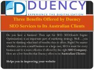 Three Benefits offered by Duency SEO services to its Australian Clients