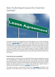 How To Be Smart Lessee For Used Car Leasing