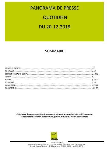 Panorama de presse quotidien du 20-12-2018