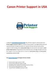 Canon Printer Support in USA