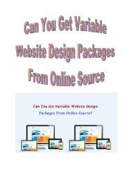 Can You Get Variable Website Design Packages From Online Source