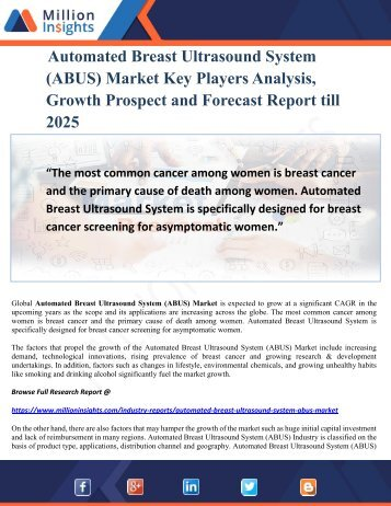 Automated Breast Ultrasound System (ABUS) Market Key Players Analysis, Growth Prospect and Forecast Report till 2025