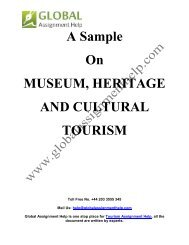 Sample Report on Importance of Museum, Heritage and Cultural Tourism