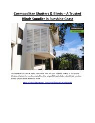 Cosmopolitan Shutters and Blinds – A Trusted Blinds Supplier in Sunshine Coast