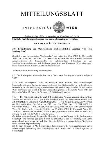 288. Ermächtigung zur Wahrnehmung ... - Universität Wien