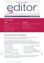 The Canberra editor August to December 2018
