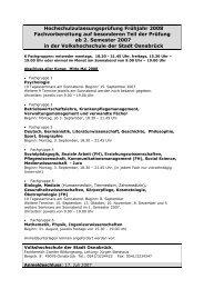 Hochschulzulassungsprüfung Frühjahr 2008
