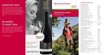 GuestCard Partners 2012 - Meraner Land
