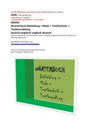 englisch Woerterbuch Bekleidung Mode Textilveredelung Textiltechnik