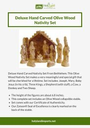 Deluxe Hand Carved Olive Wood Nativity Set