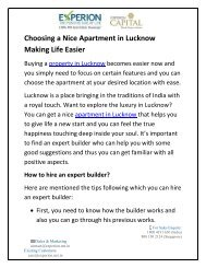 Choosing a Nice Apartment in Lucknow Making Life Easier