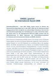 ENGEL gewinnt Go International Award 2008 - Engel Austria