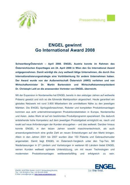 ENGEL gewinnt Go International Award 2008 - Engel Austria