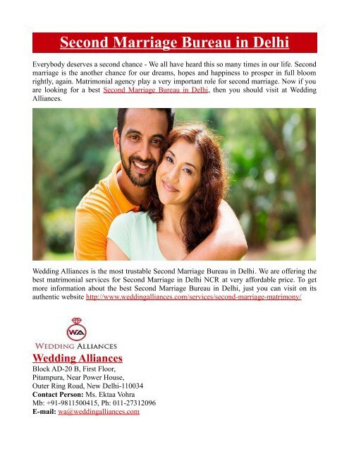 Second Marriage Bureau in Delhi