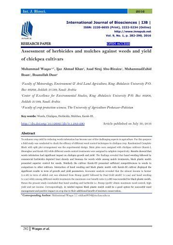 Assessment of herbicides and mulches against weeds and yield of chickpea cultivars
