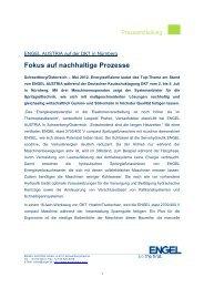 Fokus auf nachhaltige Prozesse - Engel Austria
