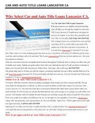 Lancaster Auto Car Title Loans CA   661-524-9345