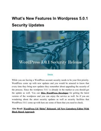 What's New Features In Wordpress 5.0.1 Security Updates