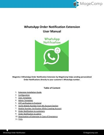Magento 2 WhatsApp Order Notification Extension by MageComp