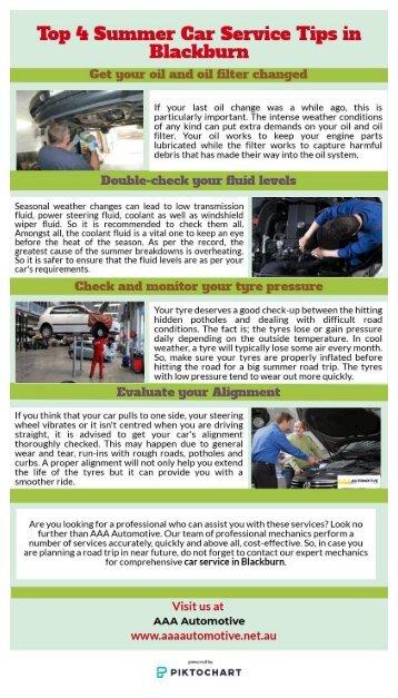 Top 4 Summer Car Service Tips in Blackburn