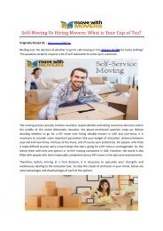 Self-Moving Vs Hiring Movers: What is Your Cup of Tea?