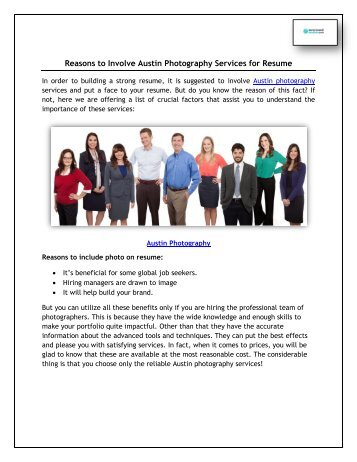 Reasons to Involve Austin Photography Services for Resume
