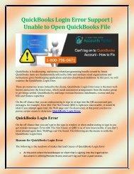 QuickBooks Login Error Support or Unable to Open QuickBooks File
