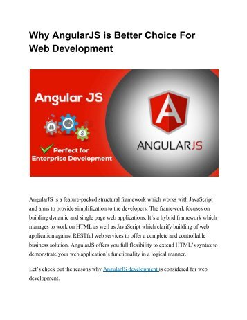 Why AngularJS is Better Choice For Web Development