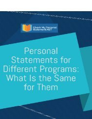 Personal Statements for Different Programs: Whta is the Same for Them