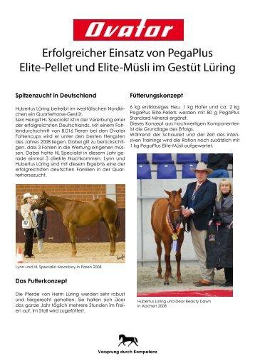 Erfolgreicher Einsatz von PegaPlus Elite-Pellet und Elite-Müsli im ...