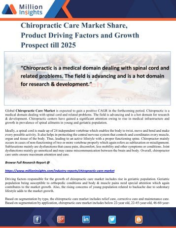 Chiropractic Care Market Share, Product Driving Factors and Growth Prospect till 2025