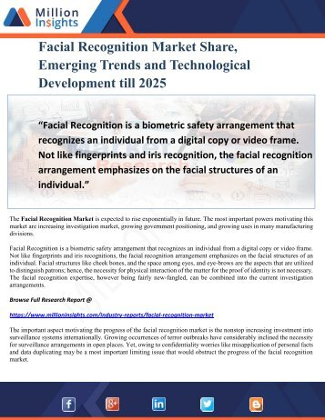 Facial Recognition Market Share, Emerging Trends and Technological Development till 2025