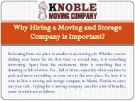 Why Hiring a Moving and Storage Company is Important