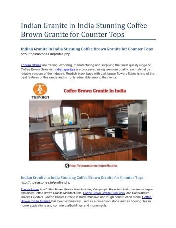Indian Granite in India Stunning Coffee Brown Granite for Counter Tops