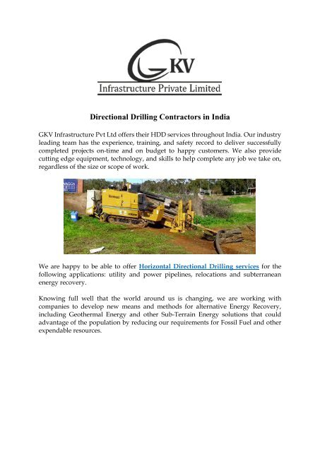 Directional Drilling Contractors in India