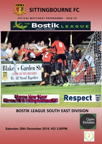 Match Day programme Sittingbourne v Herne Bay 29/12/2018