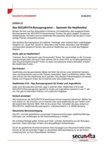 Das SECURVITA-Bonusprogramm – Sammeln Sie Healthmiles!