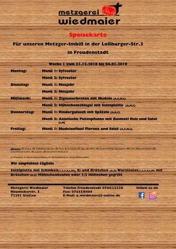 Speisekarte Loßburgerstr.  Kw 1