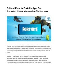 Critical Flaw In Fortnite App For Android Users Vulnerable To Hackers