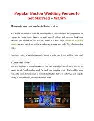 Popular Boston Wedding Venues to Get Married - WCWV
