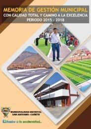 Memoria de Gestión 2015 - 2018 de la Municipalidad Distrital de San Antonio,